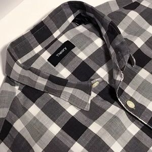 Theory Gray Plaid Shirt  L Current Stock